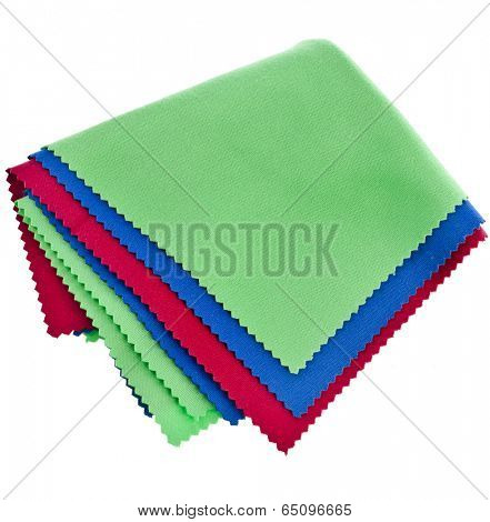 set of soft cleaning cloth for optics isolated on white background