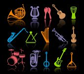 pic of banjo  - Vector image silhouettes of various musical instruments - JPG