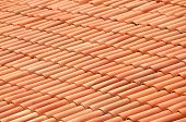 foto of gusset  - Old red tiles roof background - JPG