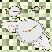 stock photo of time flies  - Clocks with wings in time flies cartoon - JPG
