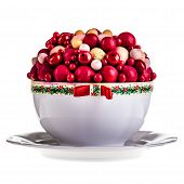 stock photo of centerpiece  - a porcelain centerpiece with fake red berries isolated over white - JPG