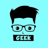 stock photo of geek  - geek and nerd with glasses avatar portrait picture vector illustration - JPG