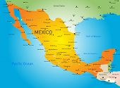 pic of political map  - Abstract vector color map of Mexico country - JPG