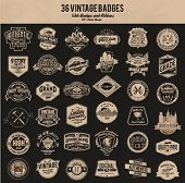 stock photo of star shape  - vintage retro label badge collection - JPG