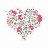 pic of centerpiece  - Messy different colorful pink gray flowers and hearts in heart shape on white background with little dots retro romantic botanical centerpiece illustration - JPG