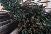 stock photo of transverse  - Steel rod in warehouse Photos of the steel - JPG