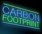 image of carbon-footprint  - Illustration depicting an illuminated neon sign with a carbon footprint concept - JPG