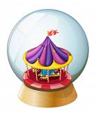 picture of kiddie  - Illustration of a crystal ball with a kiddie ride inside on a white background - JPG