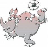Постер, плакат: Gray rhino playing soccer with a spectacular style