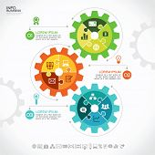 image of gear  - Infographic design template with gear - JPG