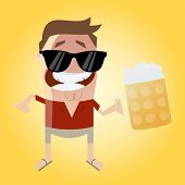 stock photo of drawing beer  - relaxed man with beer - JPG