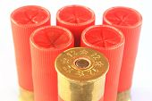 pic of hunt-shotgun  - Heap of hunting cartridges for shotgun 12 caliber - JPG