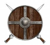 foto of berserk  - Two crossed swords and wooden viking shield isolated - JPG