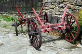 pic of four-wheeler  - Old shabby vintage cart in the village street in Bulgaria - JPG