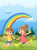 picture of playmate  - Illustration of the kids playing at the hilltop with a rainbow in the sky - JPG