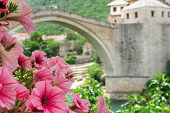 image of old stone fence  - Mostar Bridge in Spring  - JPG