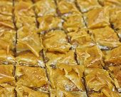 pic of phyllo dough  - baklava delicious oriental desert with nuts and honey syrup - JPG