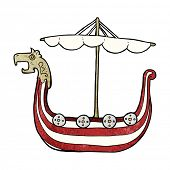 image of viking ship  - cartoon viking ship - JPG