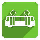 picture of tram  - tram flat icon - JPG