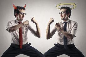 stock photo of evil  - good and evil - JPG