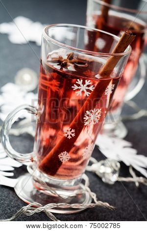 Mulled wine with cinnamon stick and star anise