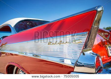 Tail Fin Of A Red 1957 Chevrolet Bel Air Classic Car