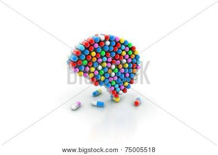 Different vector pills on white background