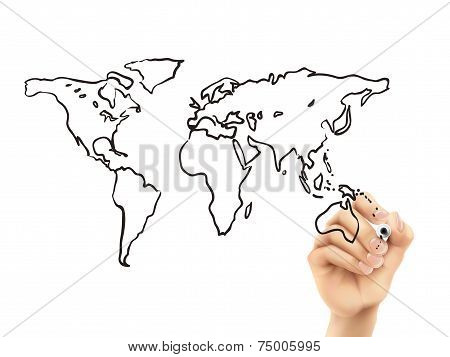 Global Map Drawn By 3D Hand
