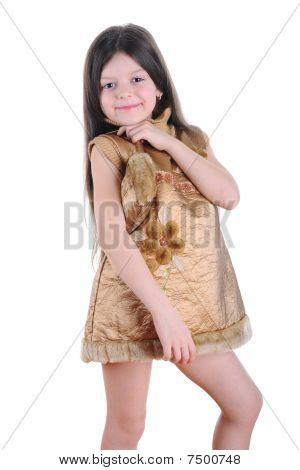 Little Girl In A Gold Dress