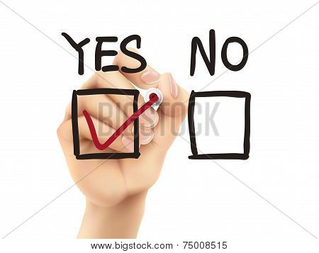 Choosing Yes On Survey By 3D Hand