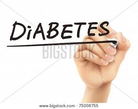 Diabetes Word Written By 3D Hand