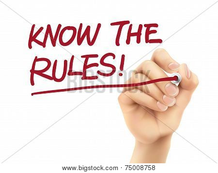 Know The Rules Words Written By 3D Hand