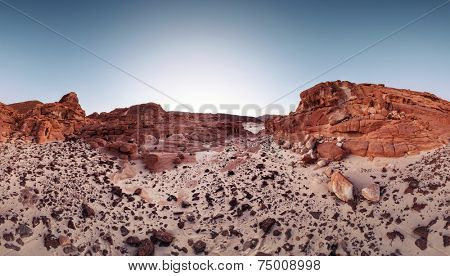 Desert with red mountains. Sinai, Egypt