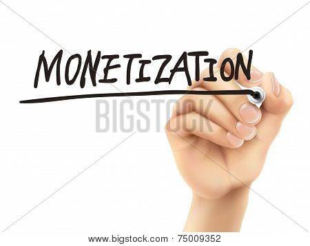 Monetization Word Written By 3D Hand
