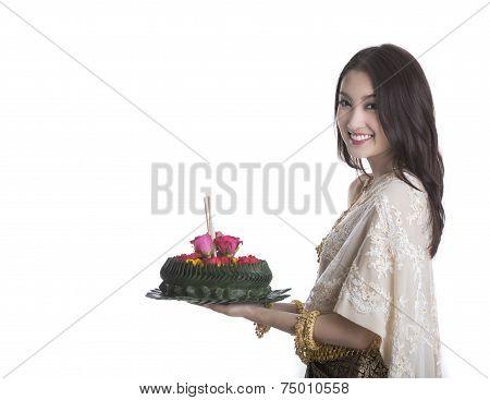 Thai Woman Hold Kratong