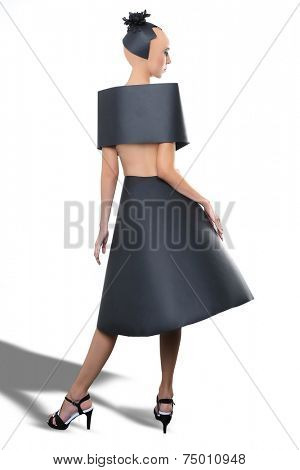 Clean Beauty Image of a Woman Wearing a Black Paper Dress