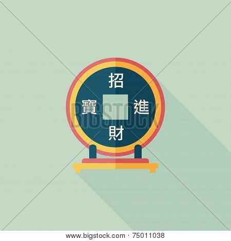 Chinese New Year Flat Icon With Long Shadow,eps10, Chinese Decoration, Chinese Words Mean Wish You C