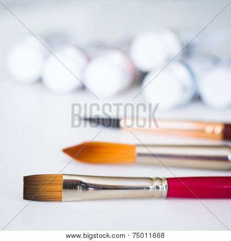 Painting supplies and various types of brushes.