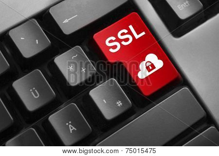 Dark Keyboard Red Enter Button Ssl Lock Cloud Symbol
