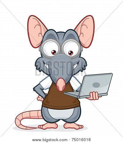 Rat holding a laptop