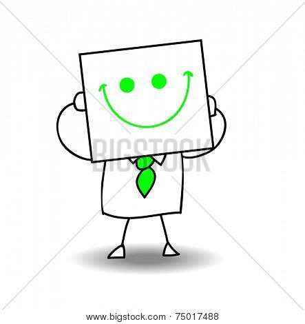 Happy businessman. Joe is holding a sheet of paper on which is drawn a happy face. he is very happy, it is a metaphor of the joy of life and of the cheerfulness