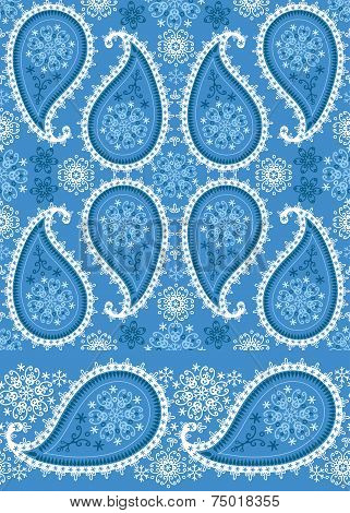 Winter Paisley seamless  pattern and border lace