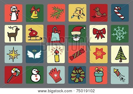 Christmas,new year icons set