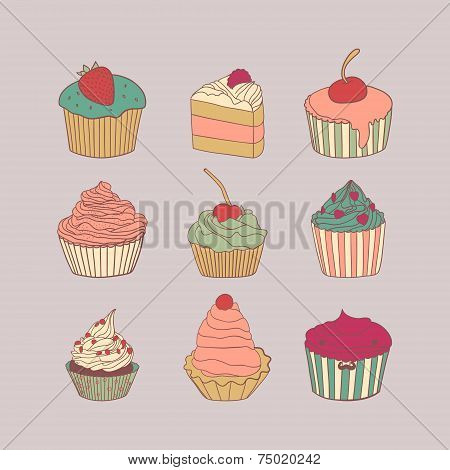 Set of 9 different delicious cupcakes vector illustration in pastel colors