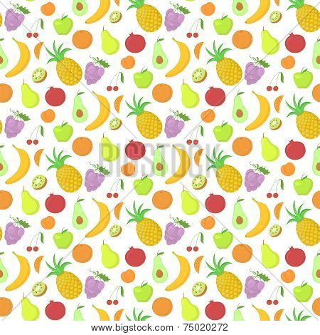 Fruit seamless pattern, vector background with great abundance of bright colorful fruit