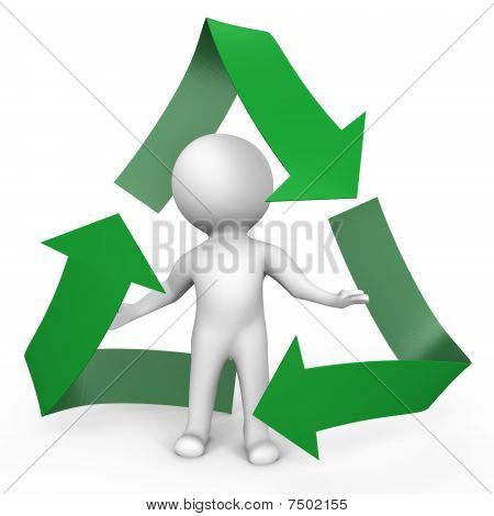 A human inside the recycle symbol - a 3d image