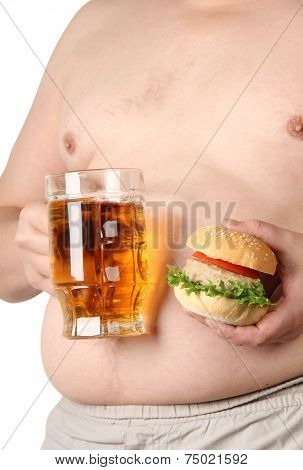 Large belly and a mug of beer