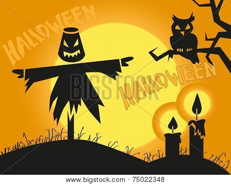 Halloween Scarecrow And Candles