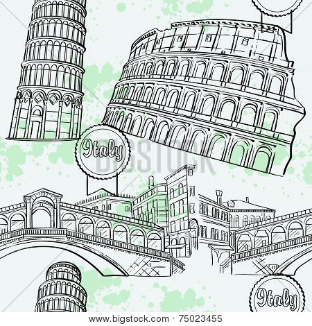 texture with the image arhitekturi Italy. The Coliseum, the Ri-alto Bridge, the Tower of Pisa.