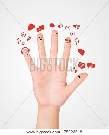 Happy Group Of Finger Smileys With Social Chat Sign And Speech Bubbles,icons. Fingers Representing A